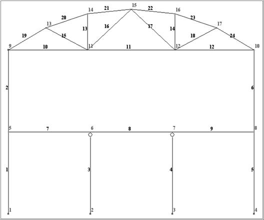 Расчетная схема рамы с